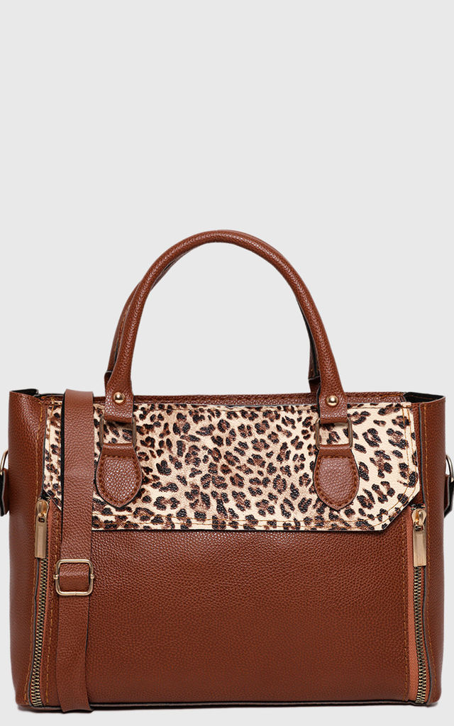 Double Zip Front Medium Tote in Leopard Print Panel by WANTD