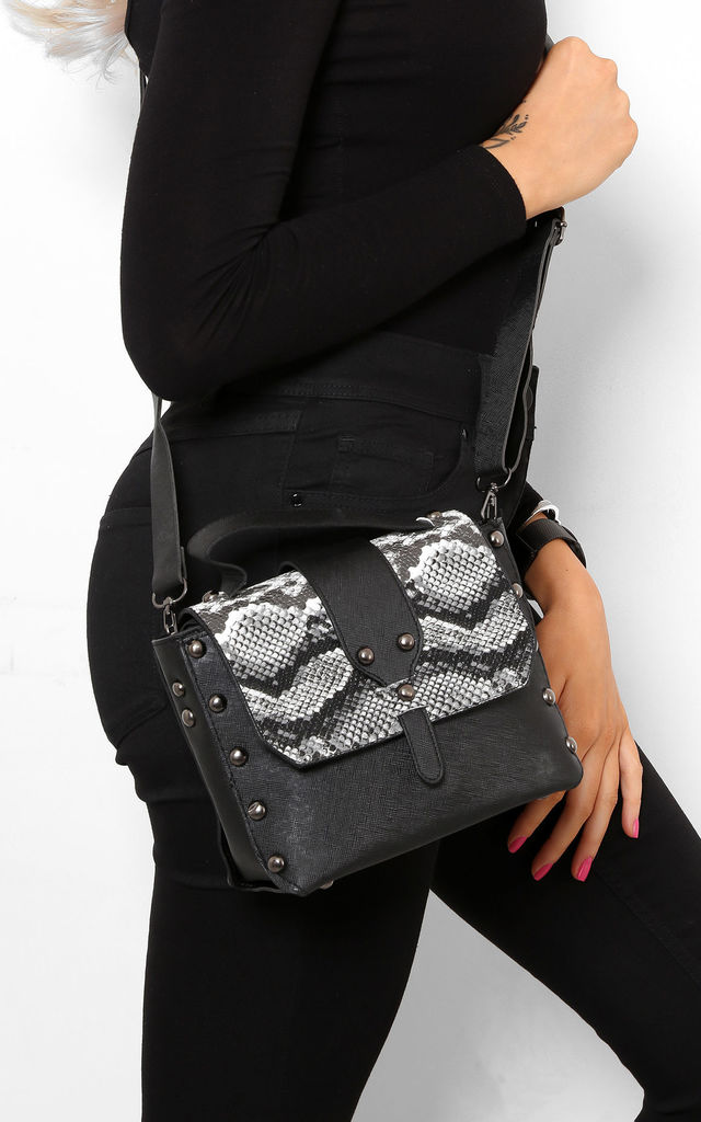Studded Mini Bag in Black with Faux Snake Skin Panel by WANTD