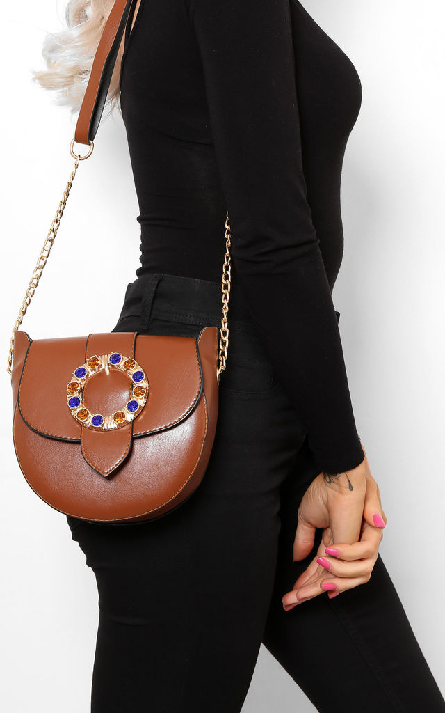 Jewelled Buckle Saddle Bag in Brown by WANTD