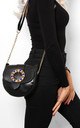 Jewelled Buckle Saddle Bag in Black by WANTD