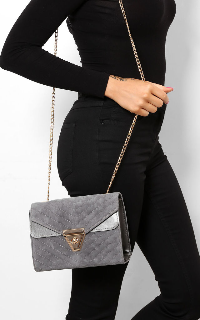 Chevron Quilted Handbag in Grey Velour with Gold Chain Strap by WANTD
