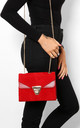 Chevron Quilted Handbag in Red Velour with Gold Chain Strap by WANTD