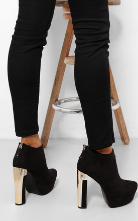 Black Platform Ankle Boots with Square Golden Heel by WANTD