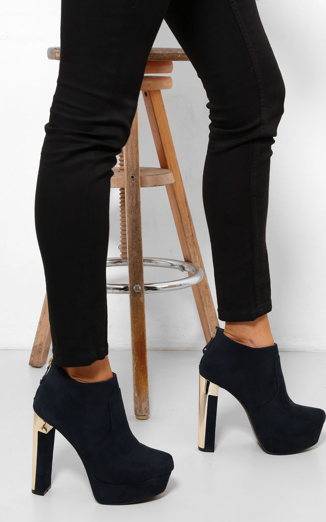 Navy Platform Ankle Boots with Square Golden Heel by WANTD