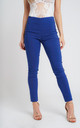COBALT BLUE PULL ON SKINNY FIT TROUSERS by Lady Love London