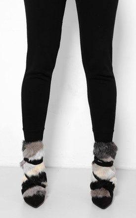 Faux Fur Black Stiletto Ankle Boots by WANTD