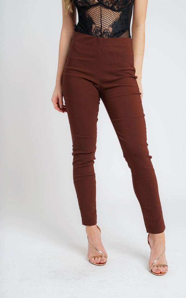 HAZEL BROWN PULL ON SKINNY FIT TROUSERS by Lady Love London