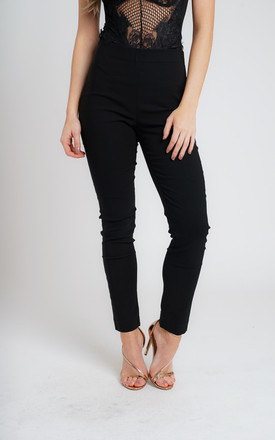 BLACK PULL ON SKINNY FIT TROUSERS by Lady Love London
