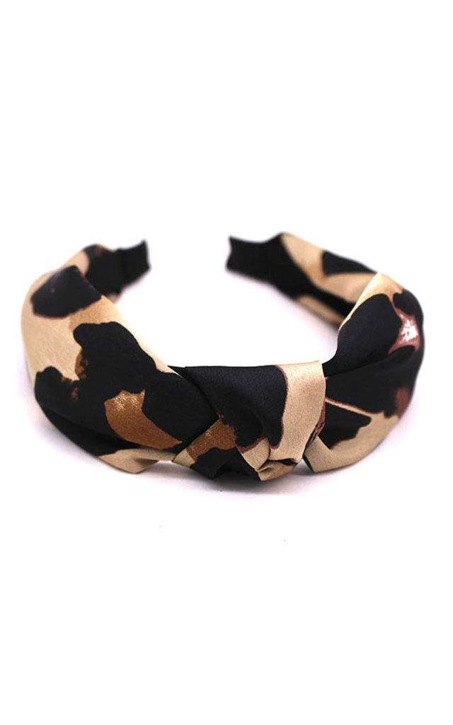 Charlie Knot Detail Headband in Leopard Print by Ajouter Store