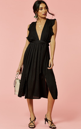 Frill Sleeve Plunge Midi Dress In Black by Glamorous Product photo