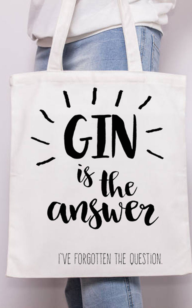 Canvas Tote Bag with White Handle in Gin is the Answer Print by Art Wow