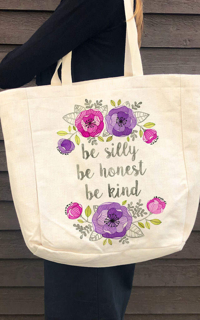 Canvas Beach Bag in Linen with Be Silly, Kind, Honest Floral Print by Art Wow