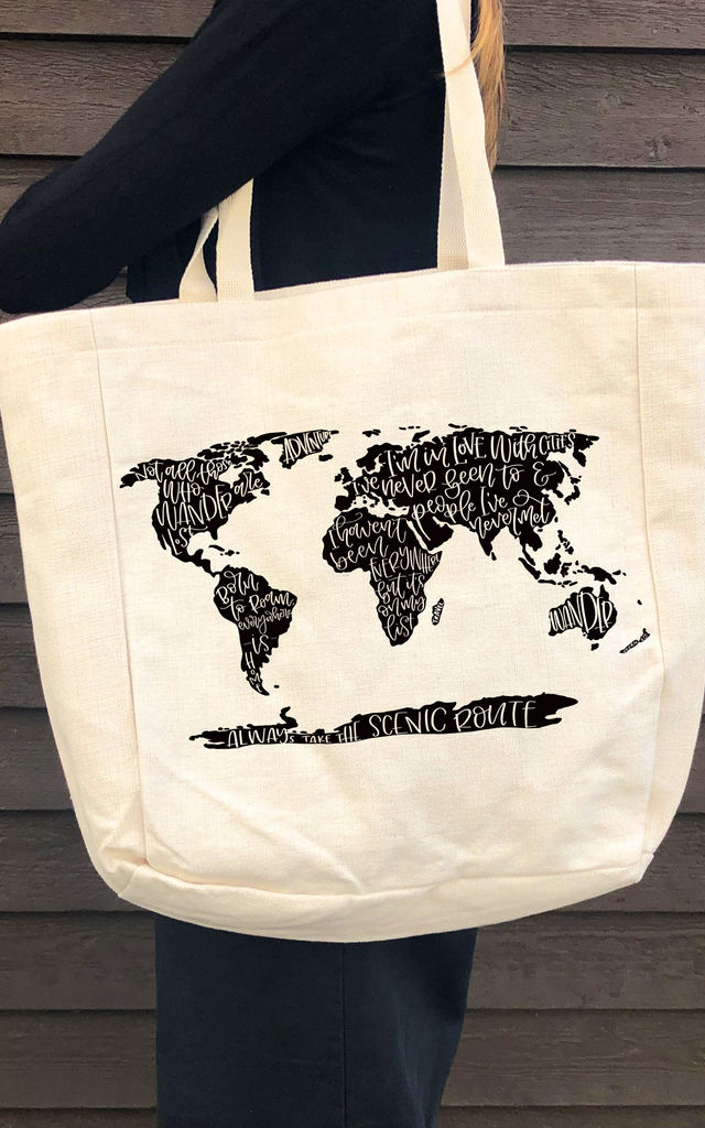 Canvas Beach Bag/Shopper in Linen with World Map Travel Quotes by Art Wow