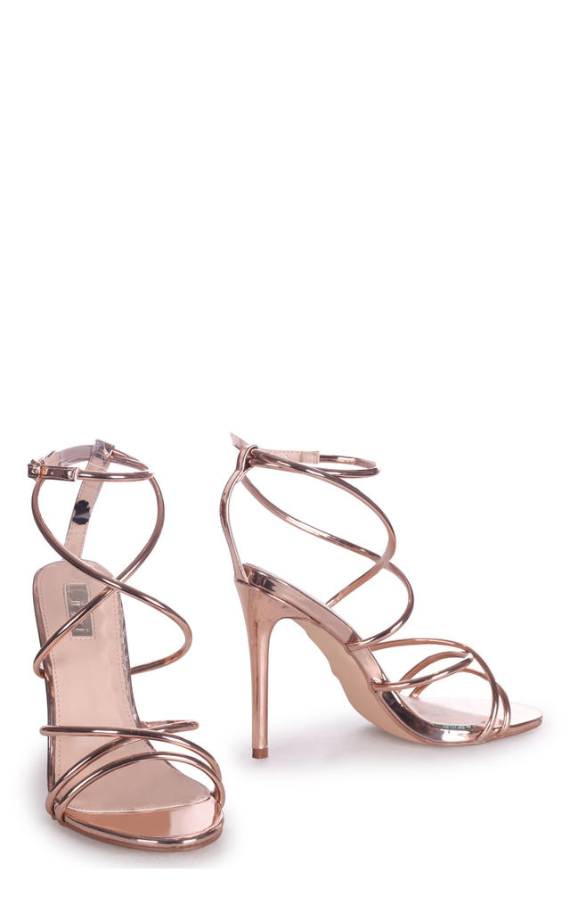Divine Rose Gold Strappy Stiletto Heel With Ankle Strap by Linzi