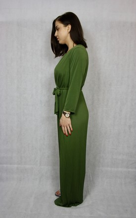 Tie Waist Pleated Jumpsuit in Khaki by The fashion Basement