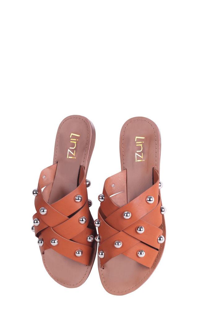 Fizz Tan Nappa Slip On Slider With Multiple Straps & Large Studded Detail by Linzi