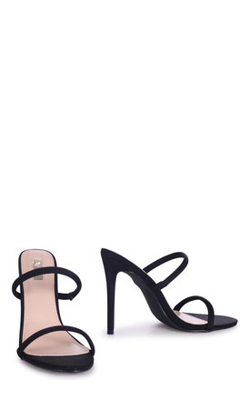 Penny Black Lycra Stiletto Heeled Mule With Double Front Strap by Linzi