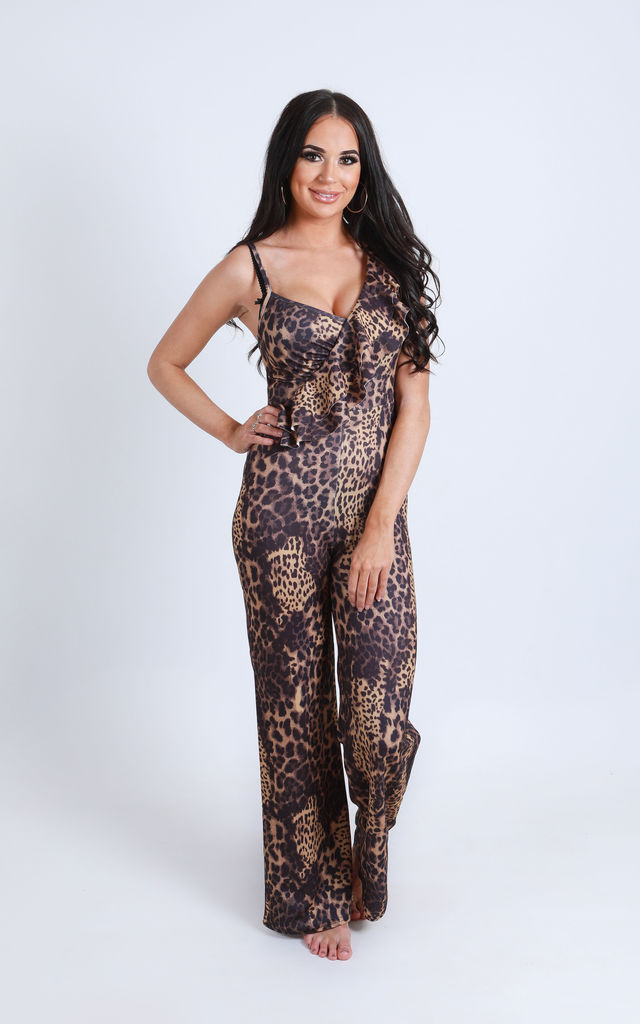 'Layla' Ruffle Frill Jumpsuit in Leopard Print by Ella's Boutique