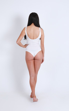 'Ariana' Sleeveless Ribbed Bodysuit in White Lace by Ella's Boutique