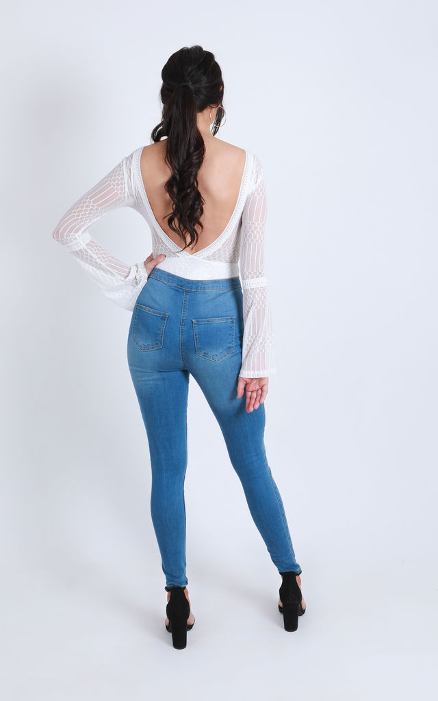 'Jennifer' High Waisted Skinny Jeans in Navy Blue by Ella's Boutique