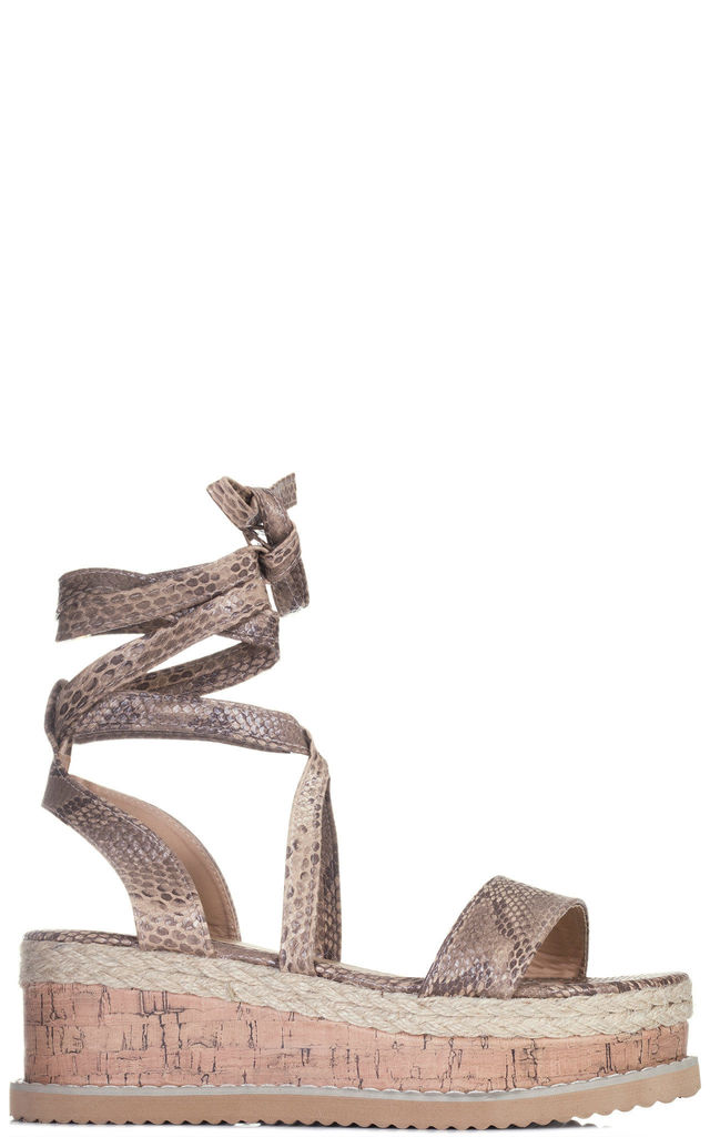 POPPY Lace Up Gladiator Sandals With Wedge in Faux Leather Snake by SpyLoveBuy