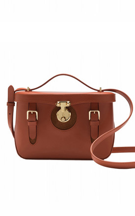 Leather cross body buckle bag in Brown by MOOD BAG
