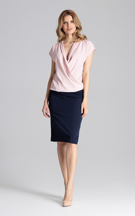 Short Sleeve Wrap Blouse in Pink by FIGL