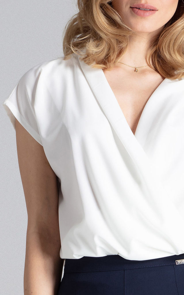 Short sleeve Wrap Blouse in White by FIGL