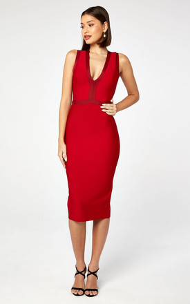83b4e54fd Tonal Plunge Bandage Midi Dress In Red by The Girlcode Product photo