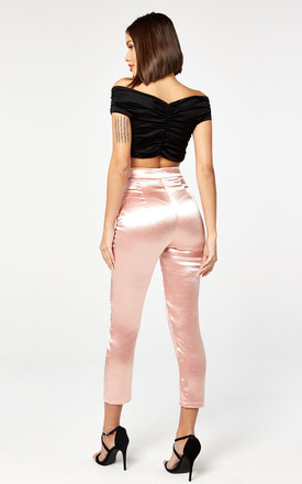 Satin Fitted Trousers in Pink by The Girlcode