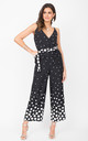 Culotte Wrap Front Jumpsuit in Black/White Polka Dot by likemary