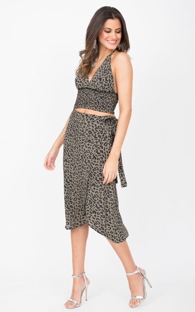 Midi Wrap Skirt in Green Leopard Print by likemary