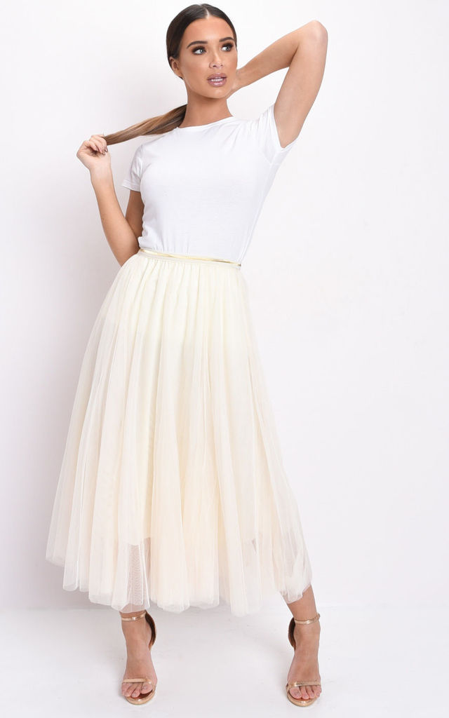 Gold detail tulle mesh midi skirt in beige by LILY LULU FASHION