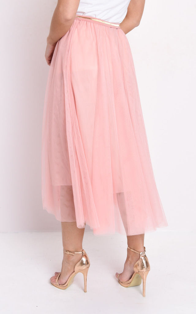 Gold detail tulle mesh midi skirt in pink by LILY LULU FASHION