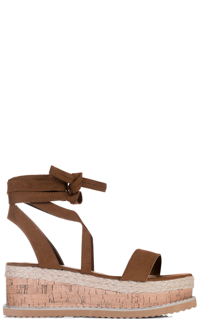 POPPY Lace Up Gladiator Sandals With Wedge in Tan Faux Suede by SpyLoveBuy