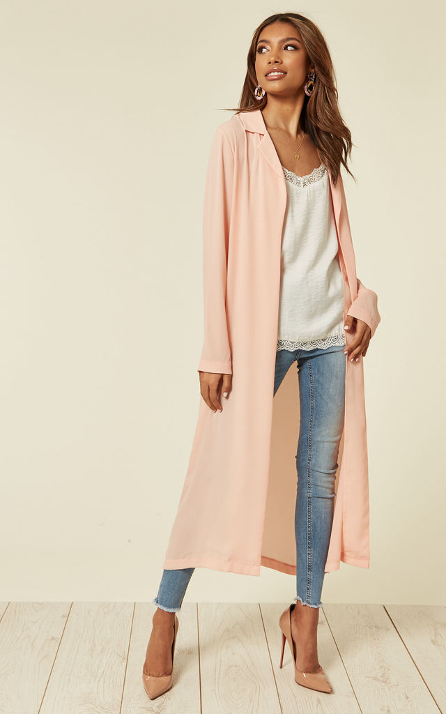 Soft Coral Sheer Duster by Till We Cover