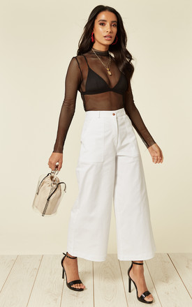 Wide Leg Cropped Trousers In White by Till We Cover