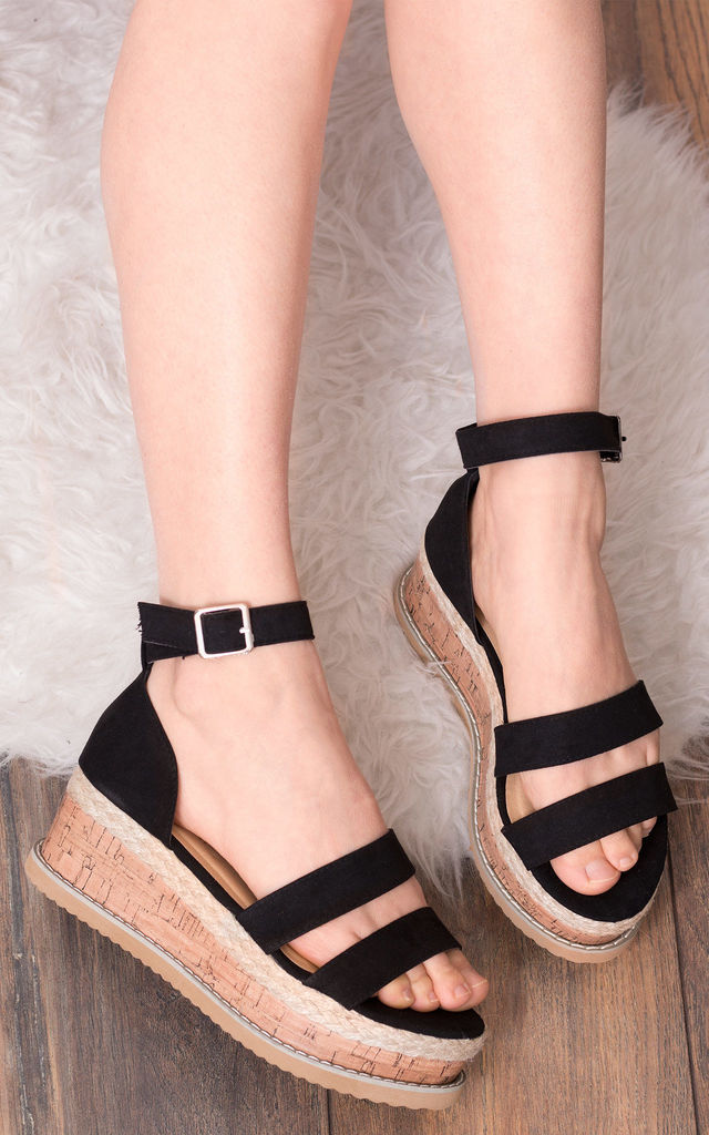 STRONTIA Buckle Flat Sandals in Black Faux Suede by SpyLoveBuy