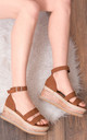 STRONTIA Buckle Flat Sandals in Tan Faux Suede by SpyLoveBuy