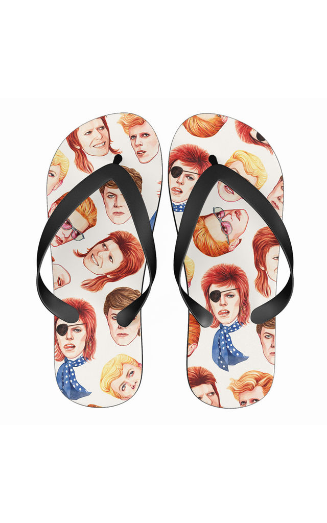 d79de950a67 Flip Flops In David Bowie Inspired Colourful Print | Art Wow | SilkFred