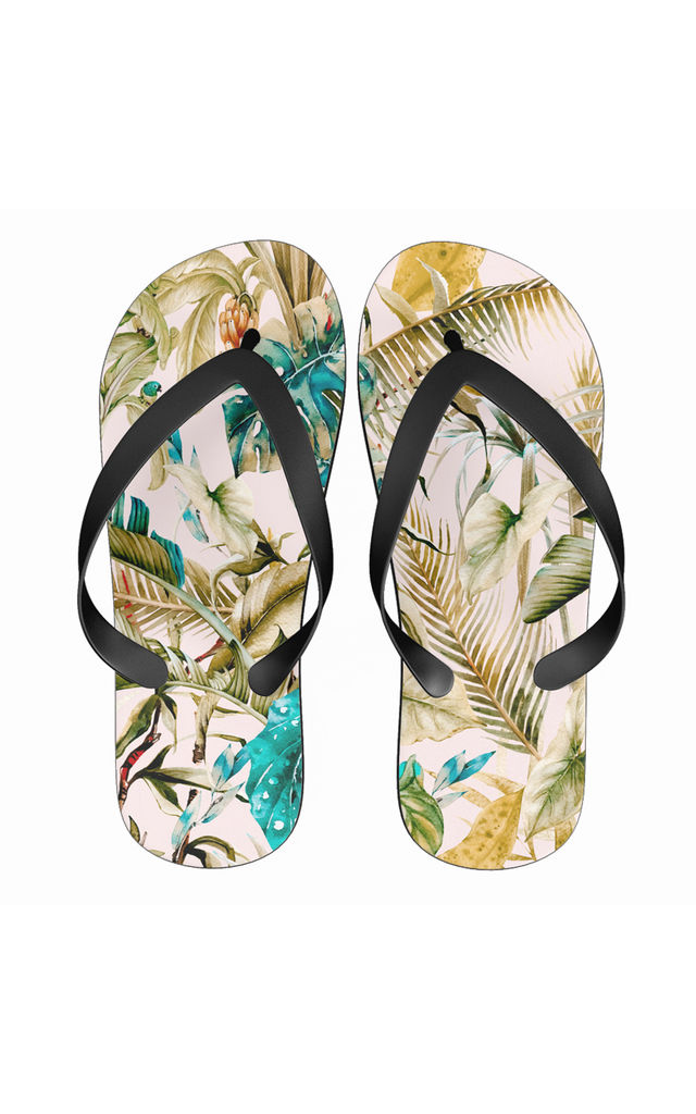 Flip Flops in Green Jungle Drawing Print by Art Wow