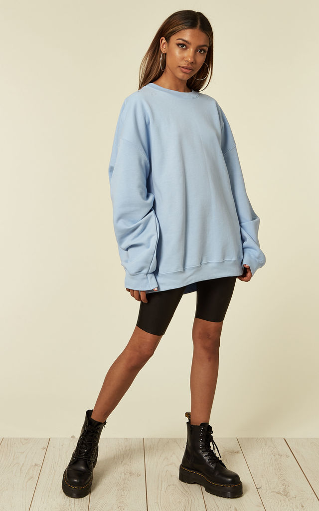 Ultimate boyfriend baggy oversized jumper in blue by Pharaoh London