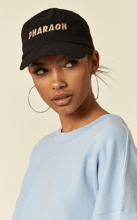 'Pharaoh' slogan black cap hat by Pharaoh London