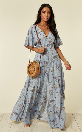 Kayla – Button Through Blue Maxi Dress by Blue Vanilla Product photo
