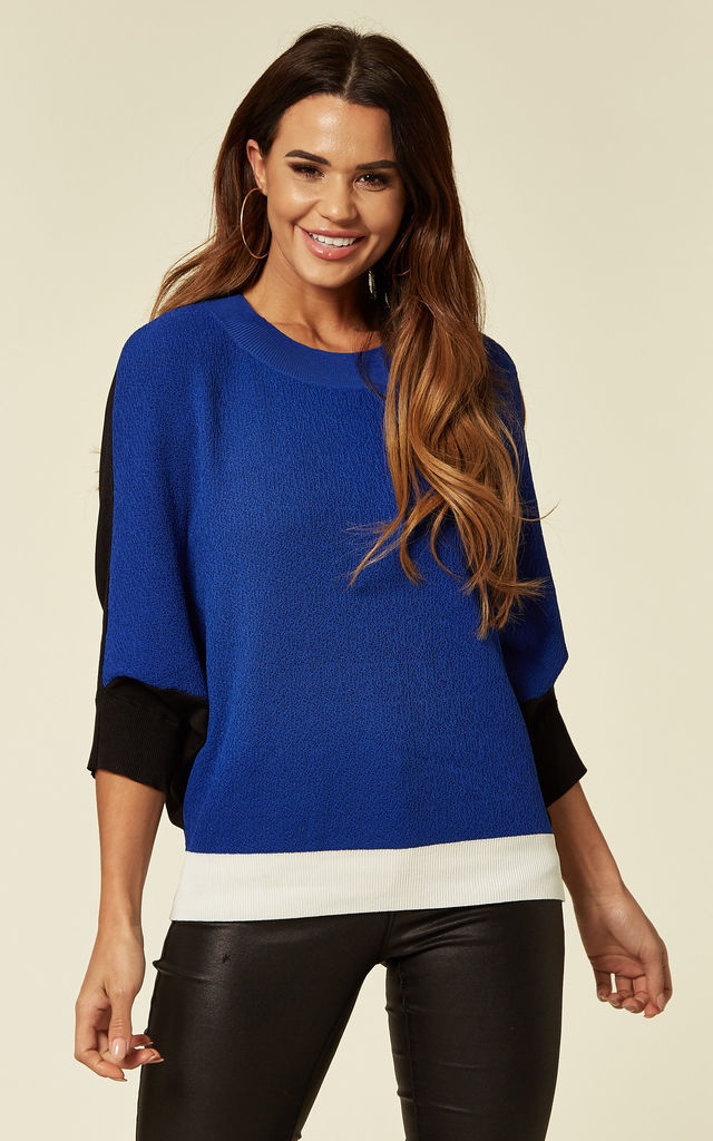 Batwing Knitted Top in Blue/White/Black Colour Block by Lucy Sparks