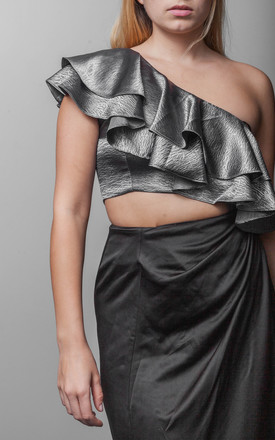 Diagonal Frill One Shoulder Crop Top in Stormy Grey by The Naked Laundry