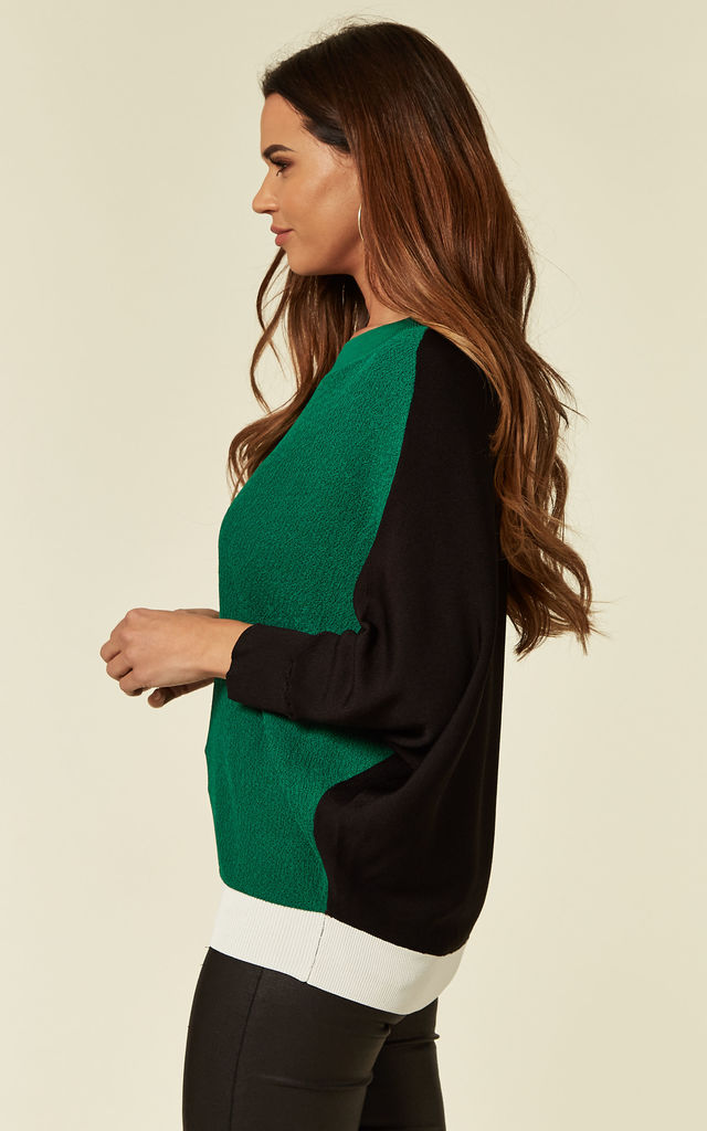 Batwing Knitted Top in Green/White/Black Colour Block by Lucy Sparks