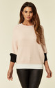Batwing Knitted Top in Pink/White/Black Colour Block by Lucy Sparks