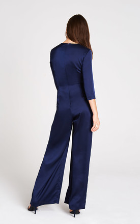 Sala Navy Satin Jumpsuit by Girls On Film