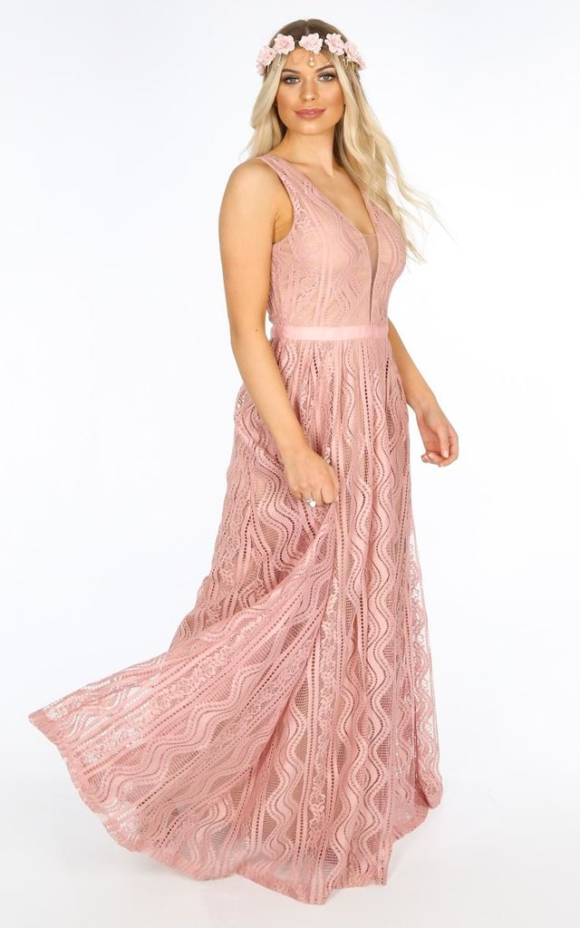 7e9046850174 Bridal Contrast Lace Maxi Dress In Pink | Dressed In Lucy | SilkFred